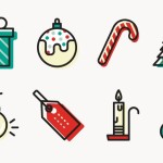 8 Minimal Christmas Icons Vector