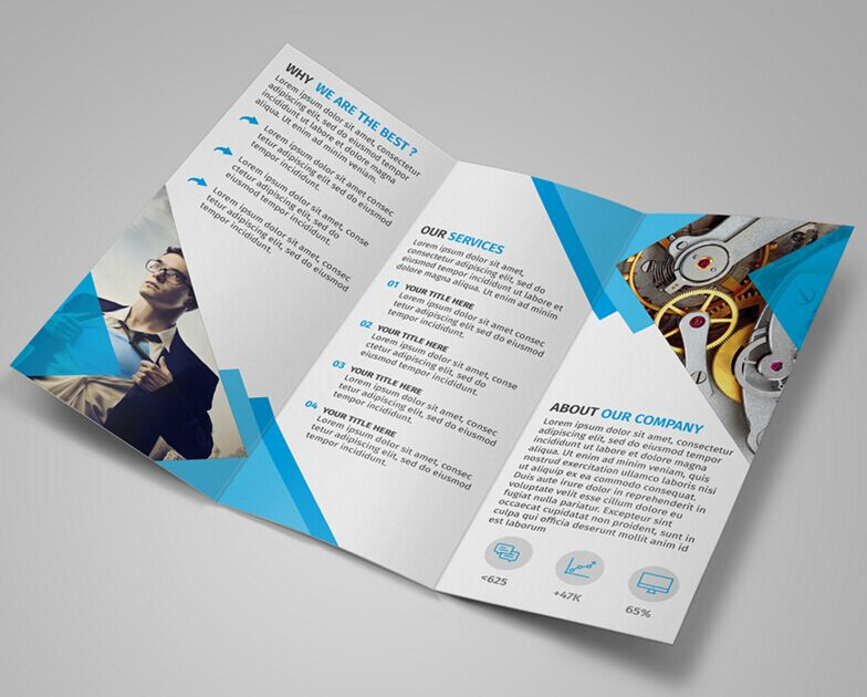 Free modern blue tri fold brochure template psd titanui for Tri fold brochure template photoshop free