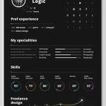 Dark Resume / CV Template Vector