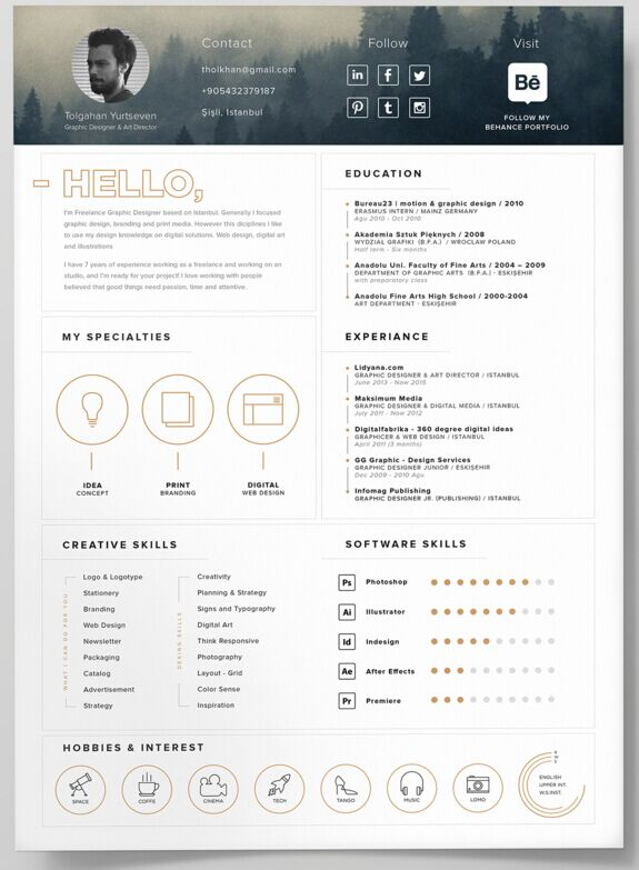 free self promotion resume template psd