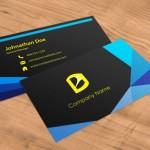 Black & Blue Geometric Business Card Template PSD