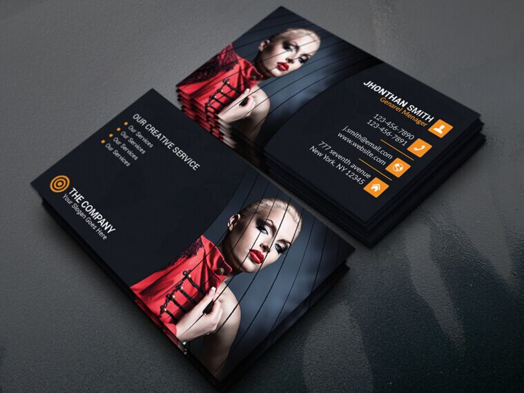Free Dark Fashion Business Card Template PSD - TitanUI