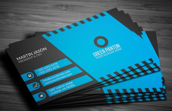 free elegant blue corporate business card template vector