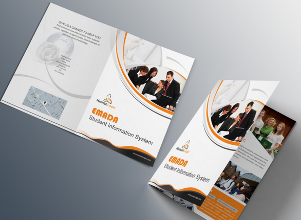 Free orange business tri fold brochure template psd titanui for Tri fold brochure psd template