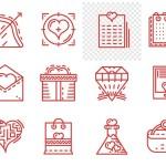 12 Valentine's day Line Vector Icons