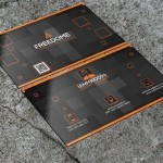 Black & Orange Modern Business Card Template PSD