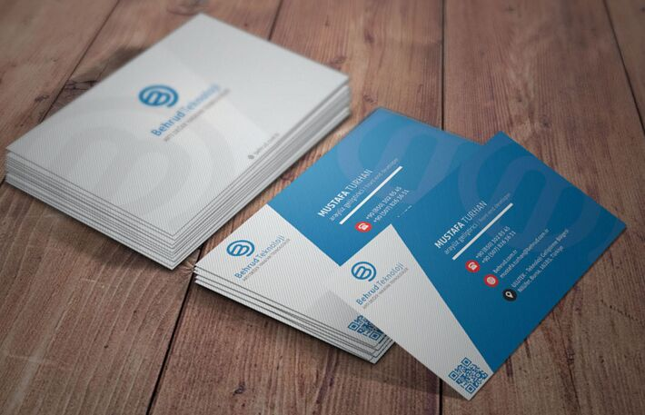 Free Blue Stripped Business Card Template PSD TitanUI