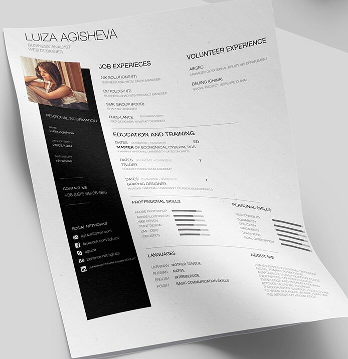free minimal clean resume    cv template psd