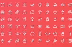 60 Food Line Icons Vector
