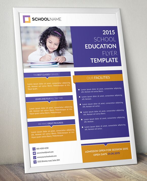 Education Template Free: Free Standing Education Flyer Template PSD