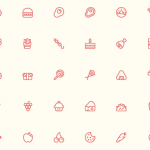 56 Minimal Food & Fruit Icons Vector