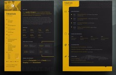Black / Yellow Personal Resume PSD Template