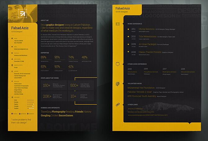 free black    yellow personal resume psd template