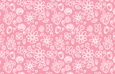 Seamless Pink Flower Pattern Vector