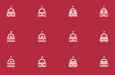 12 Capitol Line Icons Vector