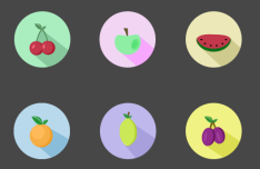 6 Super Flat Fruit Icons PSD