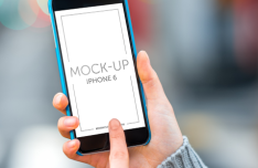iPhone 6 With Blue Case PSD Mockup