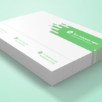 Realistic Stacked Business Card PSD Mockup
