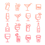 Birthday Drinks Line Icons Vector