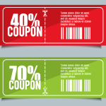2 Flat Coupons Vector