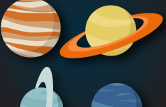 Flat Solar System Planets Vector