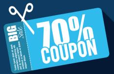 Flat 70% Coupon Big Save Vector