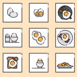 9  Breakfast Icons Vector