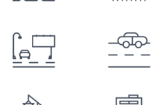 Transport and Industry City Line Icon Set Vector