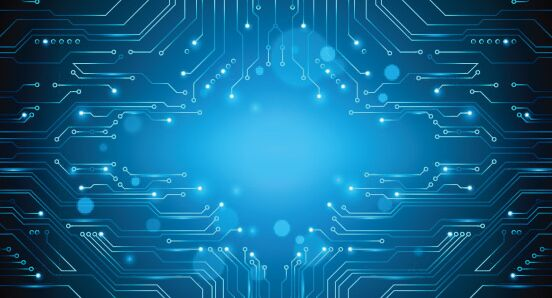 circuit board blue vector abstract background royalty free
