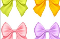 Sleek Satin Ribbon Bow Vector Set #1