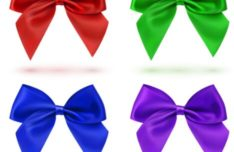 Sleek Satin Ribbon Bow Vector Set #2