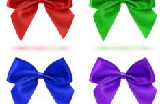 Sleek Satin Ribbon Bow Vector Set #2