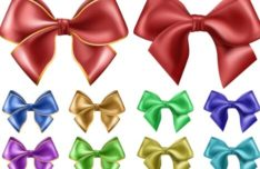 Sleek Satin Ribbon Bow Vector Set #3