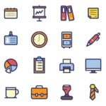 20 Colored Office Icons Vector