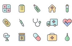 15 Colored / Outlined Medical Icons Vector