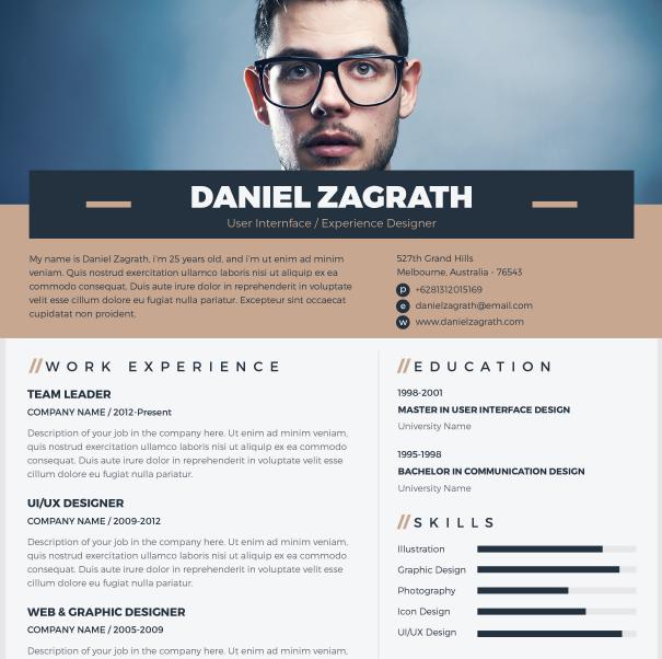 free minimal elegant resume    cv vector template