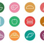 12 Circular Food & Drinks Icons Vector