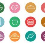 12 Circular Food & Drinks Icons Vector
