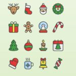 16 Flat Christmas Icons Vector