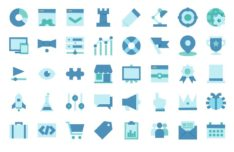 40 Flat Blue SEO Icons (AI, PNG And SVG)