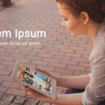 Realistic iPad Female Mockup PSD