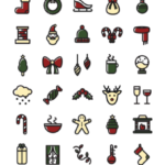 50 Vector Christmas Icons (2 Versions)