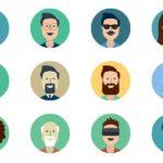 12 Flat Avatar Icons PSD