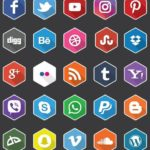 25 Flat Hexagon Social Icons Vector