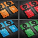 Modern Vertical Business Card Templates PSD (4 Colors)