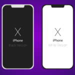 Flat Dark / Light iPhone X Vector Template