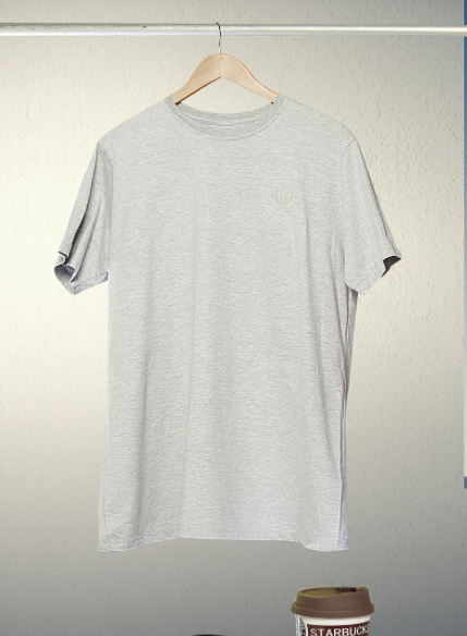 free grey hanging t-shirt psd mockup